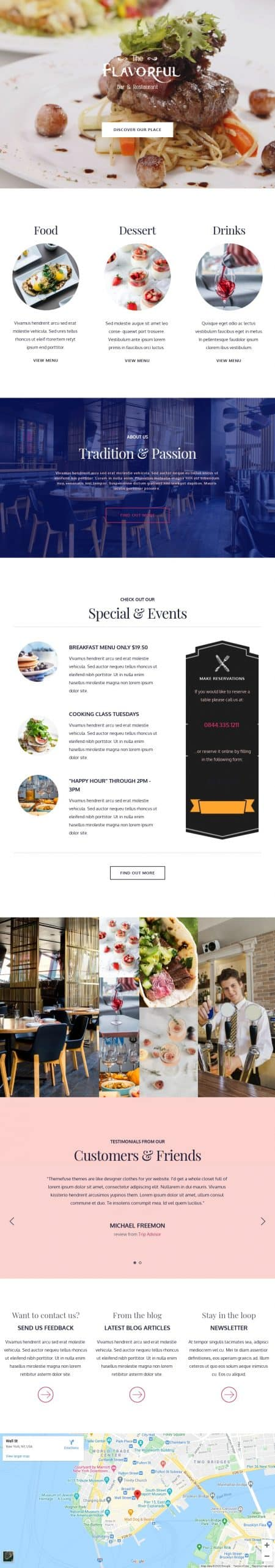 restaurant website screenshot